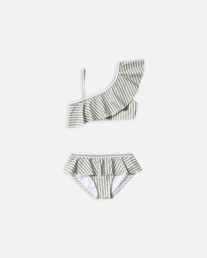 skirted bikini set || olive stripe