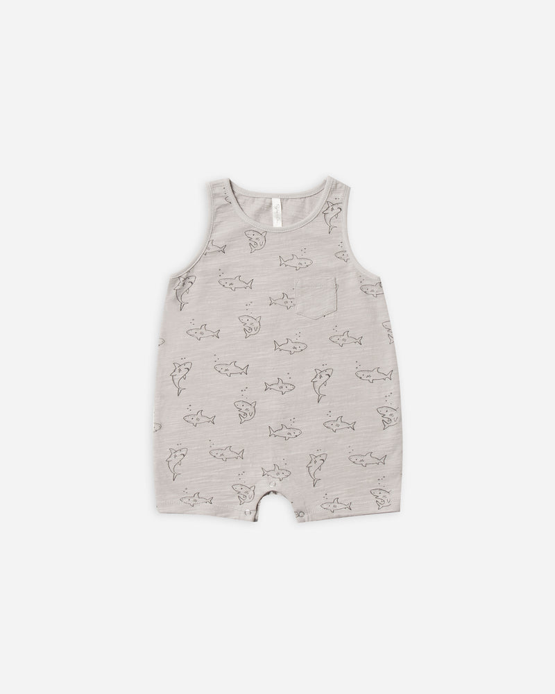 sleeveless romper || shark - Rylee + Cru | Kids Clothes | Trendy Baby Clothes | Modern Infant Outfits |