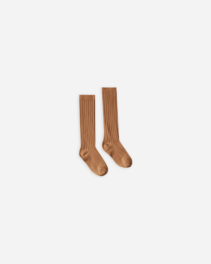 solid ribbed socks || bronze - Rylee + Cru
