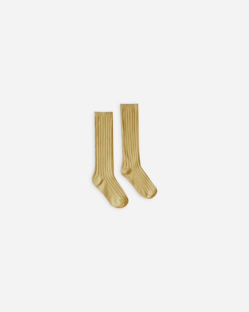 solid ribbed socks || citron