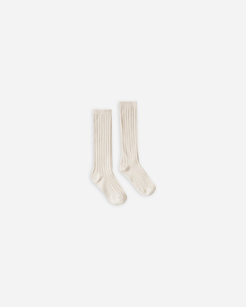 solid ribbed socks || natural