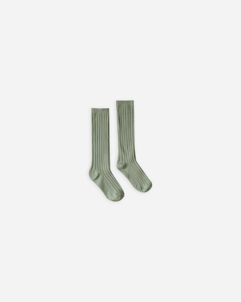 solid ribbed socks || olive - Rylee + Cru