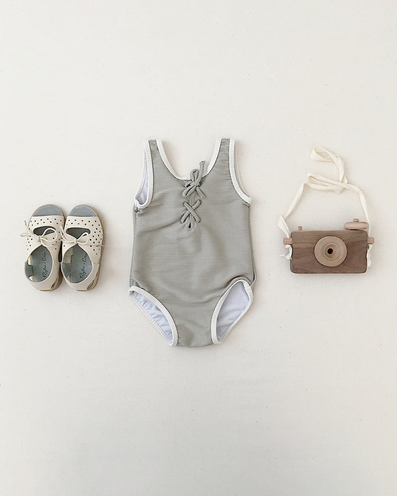 lace-up onepiece || sage - Rylee + Cru | Kids Clothes | Trendy Baby Clothes | Modern Infant Outfits |