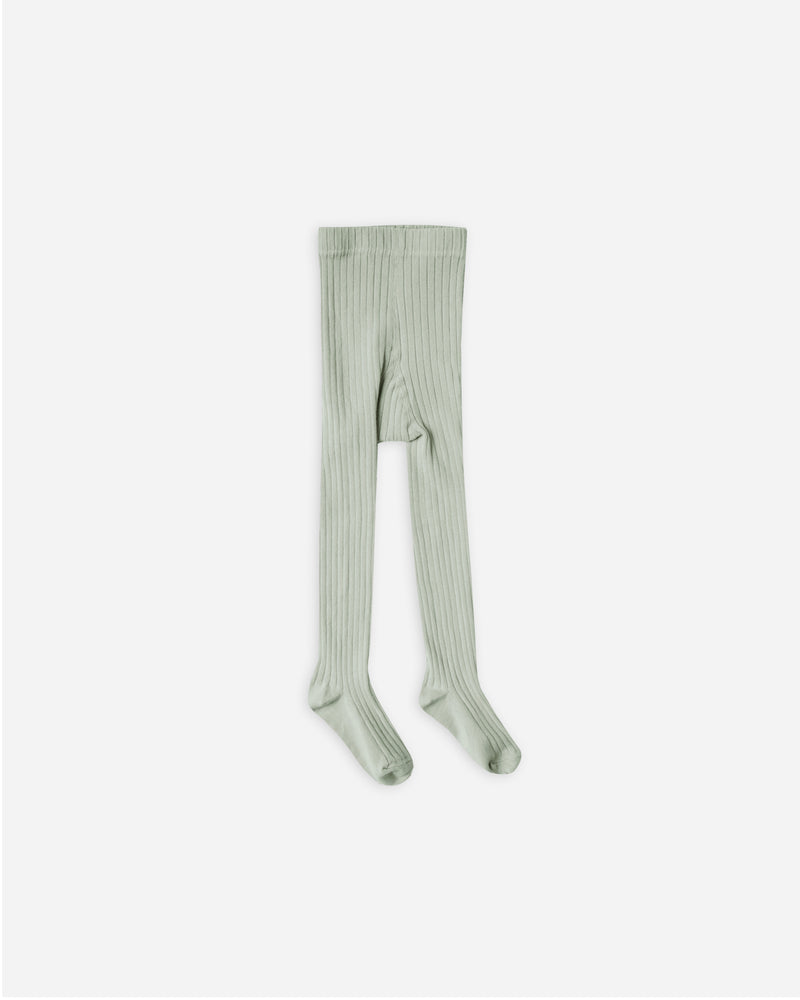 solid ribbed tights || seafoam