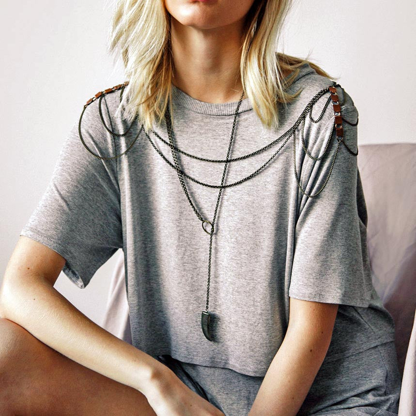 Danae Pyrite Tooth Lariat Necklace