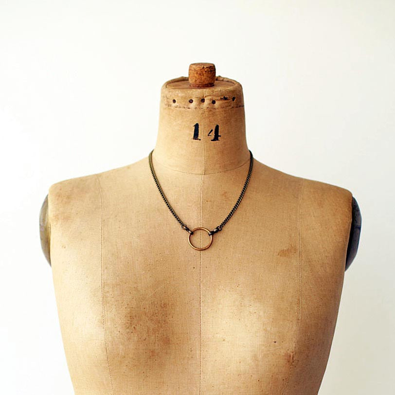 Mena Brass & Copper Ring Unisex Necklace