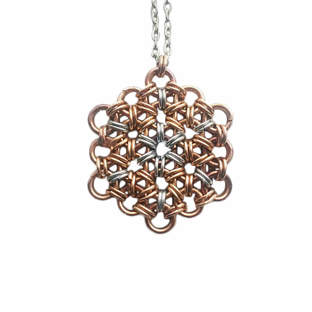 Bronze and Silver Chainmaille Necklace