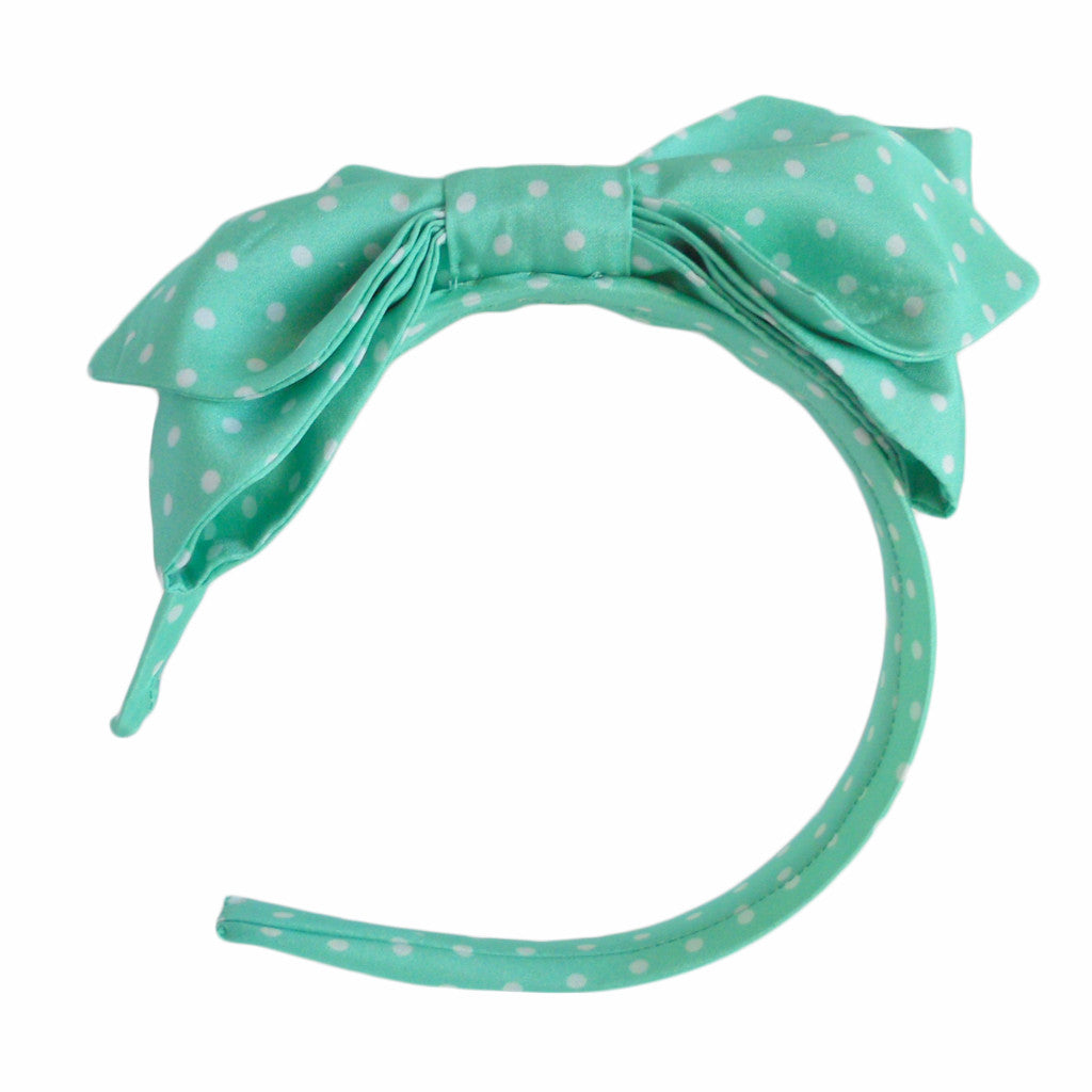 Mint Polka Dot Bow Hairband