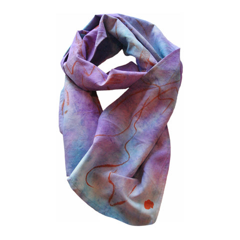 Turquoise & Lilac Hand Dyed and Painted Silk Scarf