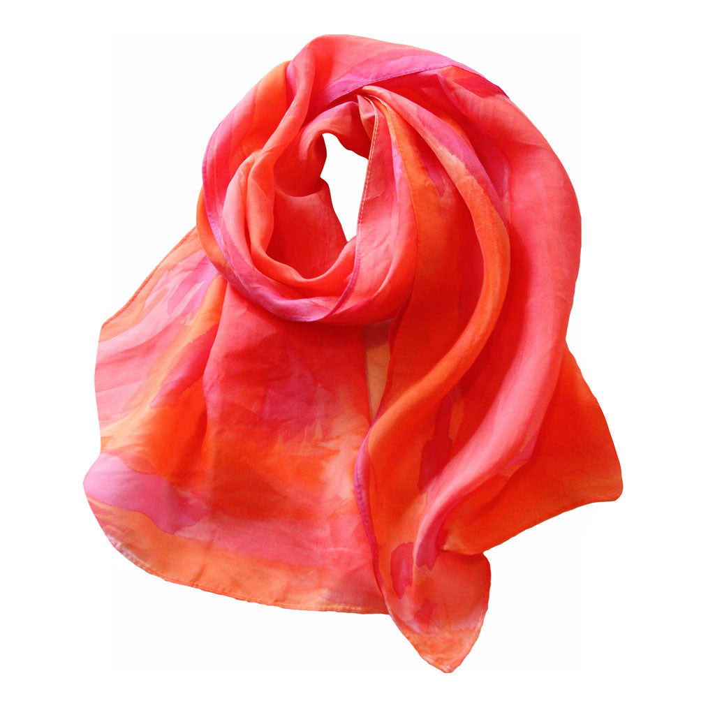 Red & Orange Painted Silk Scarf