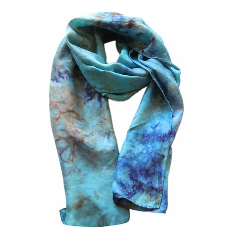 Blue & Turquoise Hand Dyed Silk Scarf