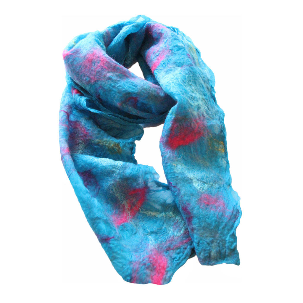Turquoise Nuno-Felted Scarf