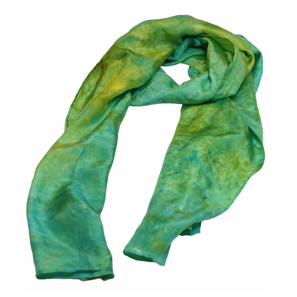 Blue & Green Hand Dyed Silk Scarf