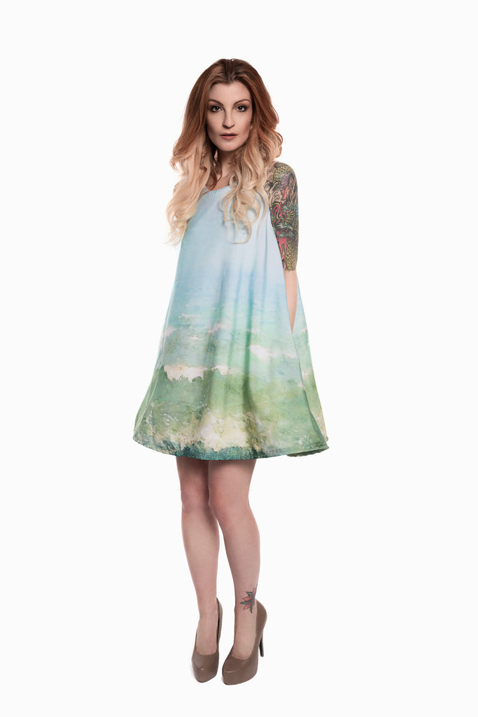 Landscape Print Trapeze Dress