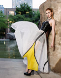 Sheer Maxi Skirt In White With Canary Yellow Panel