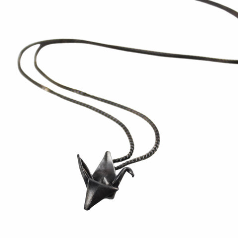 Hand-Folded Black Silver Origami Paper Crane Necklace
