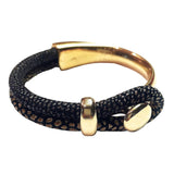 Leather & Gold Bracelet