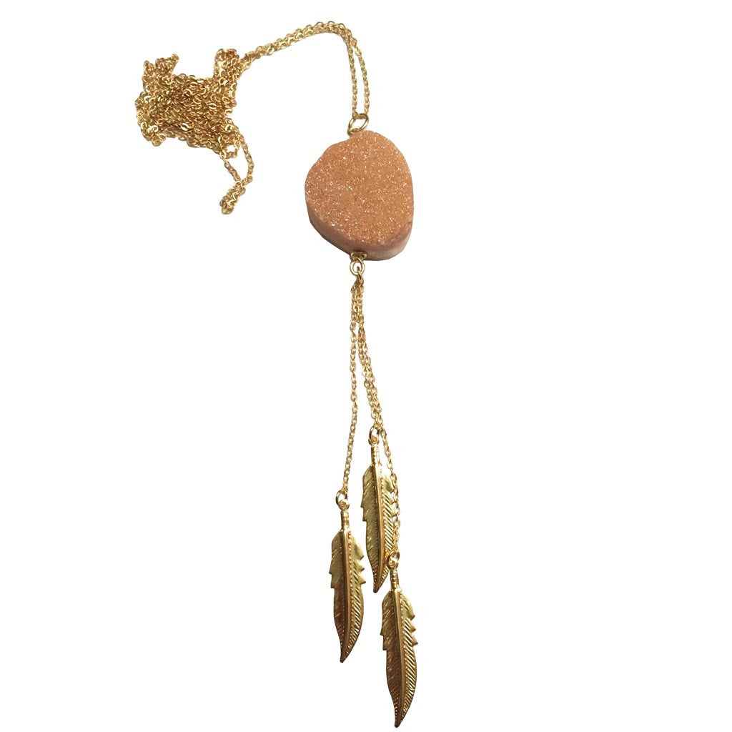 Champagne Druzy Feather Necklace