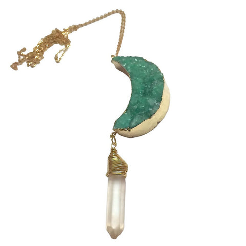Druzy Crescent Moon Double Pendant