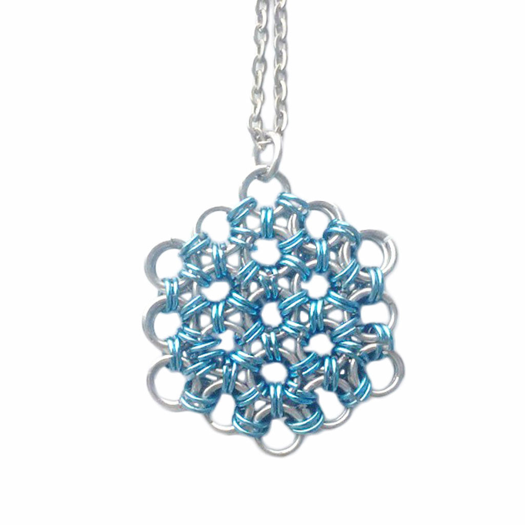 Light Blue and Silver Chainmaille Necklace