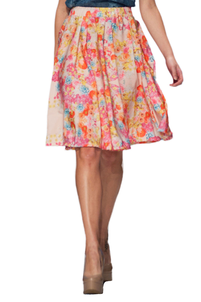 Floral Circle Skirt In Custom Print