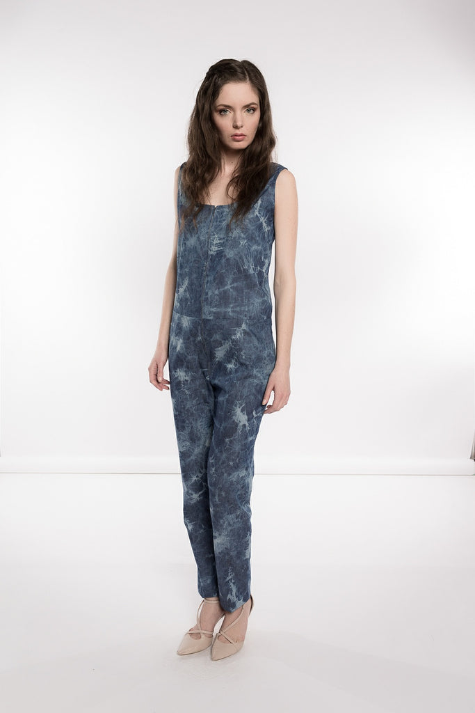 Tie Dye Denim Jumpsuit