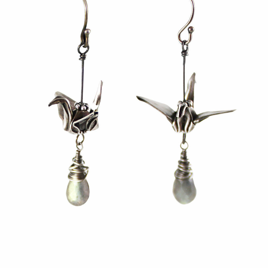 Hand-Folded Silver Origami Crane Earrings with Labradorite Briolettes