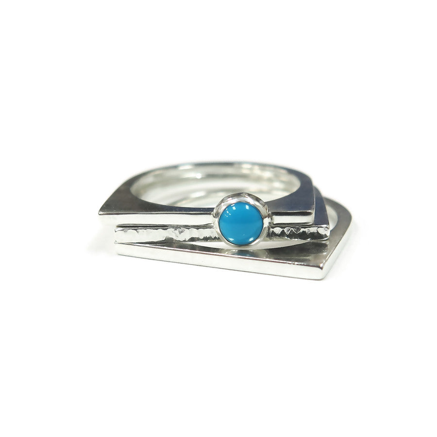 Square Stacking Rings With Genuine Turquoise