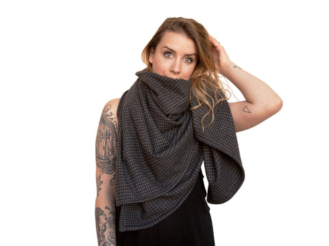 Classic Black & Grey Wool Herringbone Savasana Blanket Scarf