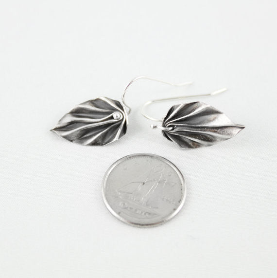 Hand-Folded Silver Origami Dangling Leaf Earrings