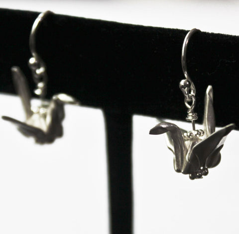 Hand-folded Silver Origami Paper Crane Earrings