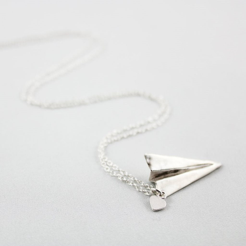 Hand-Folded Silver Paper Air Plane Necklace
