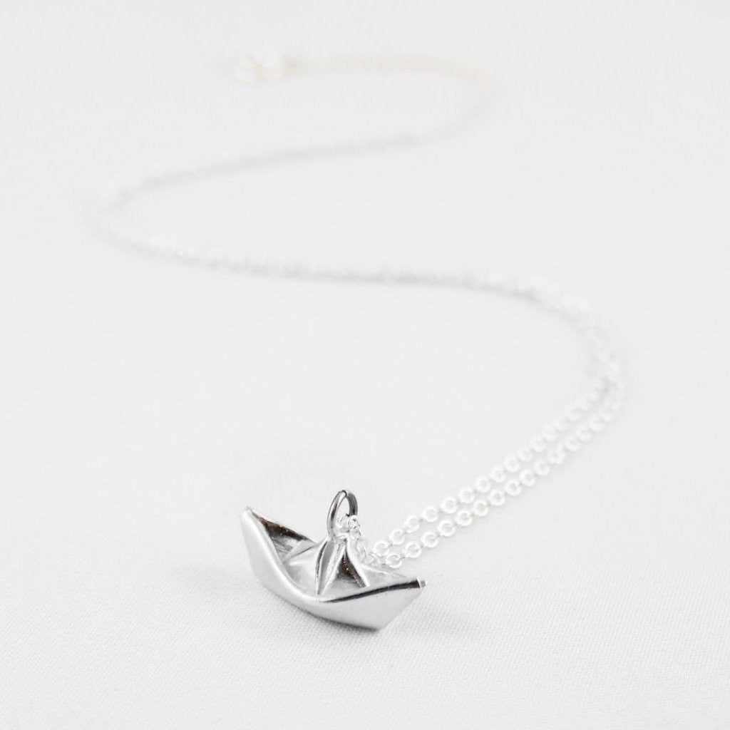 Hand-Folded Silver Paper Boat Necklace