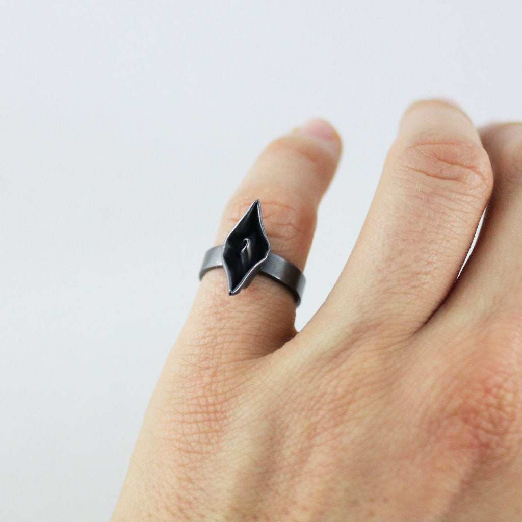 Hand-Folded Silver Paper Boat Ring