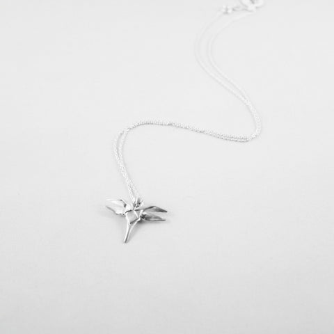 Hand-Folded Silver Origami Dragonfly Necklace