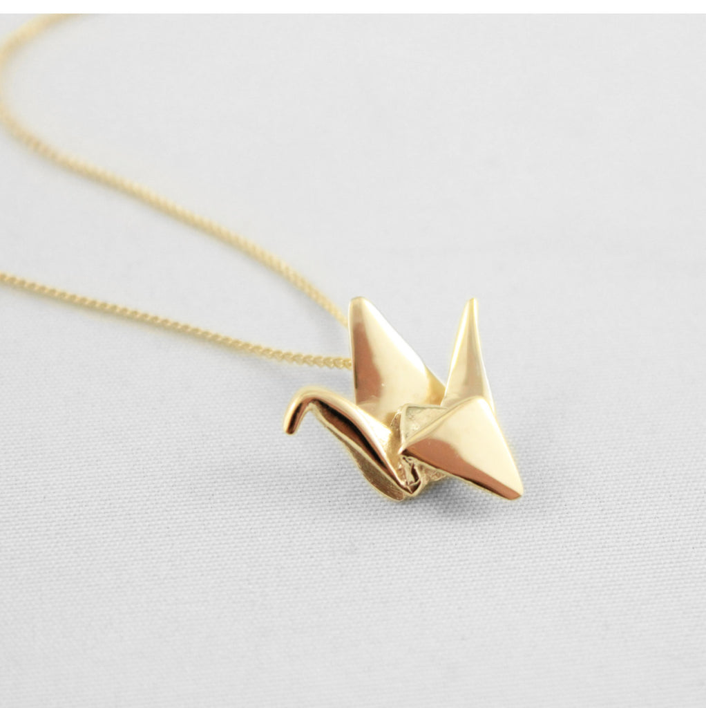 Gold/Rose Gold Origami Paper Crane Necklace
