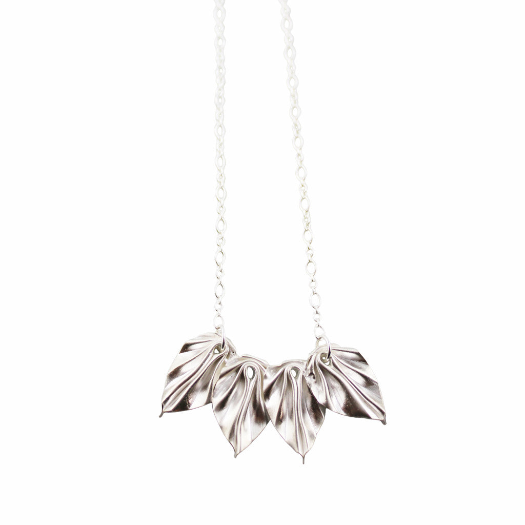 Hand-Folded Silver Origami Leaf Necklace
