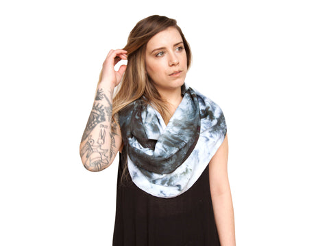 Navy & White Hand Dyed Wrap Scarf