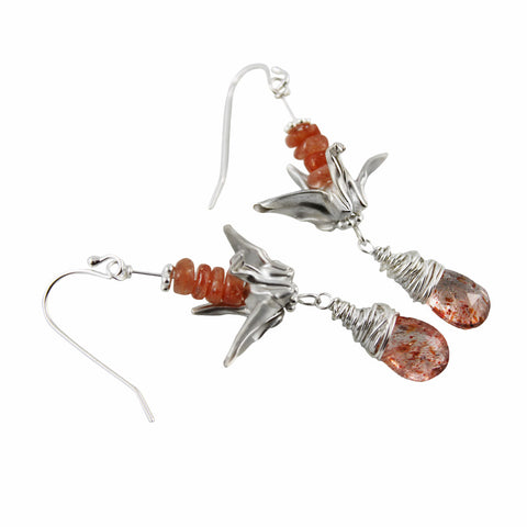 Hand-Folded Fine Silver Origami Crane Earrings with Sunstones