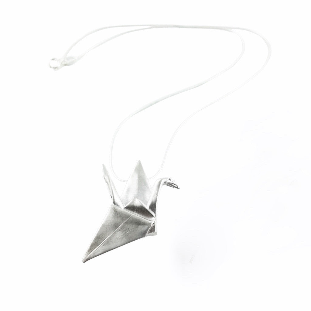 Large Hand-Folded Silver Origami Crane Necklace