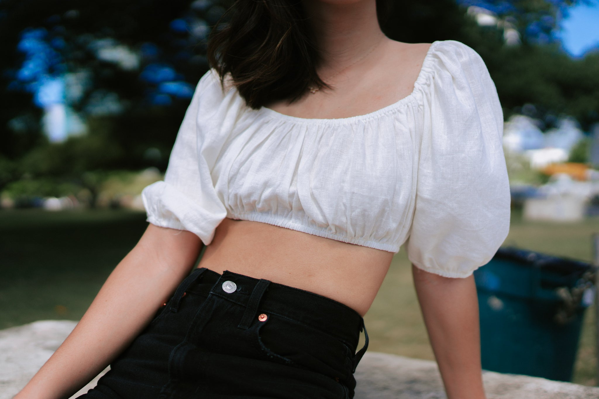 Lucia Off Shoulder Crop - Ivory