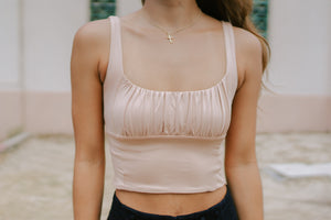 Walsh Ruched Crop - Nude