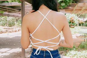 Tula Ribbed Halter Crop - Off White