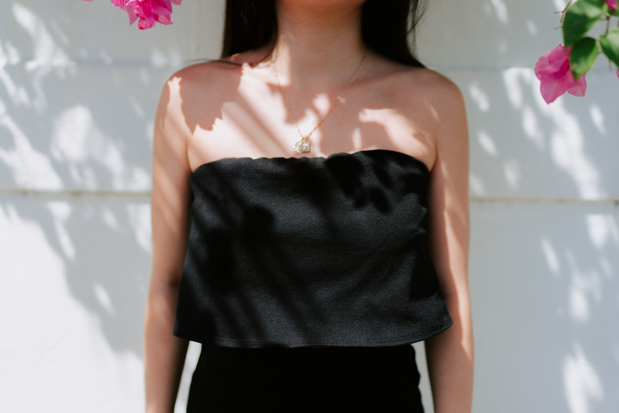 Krisa Strapless Crop - Black