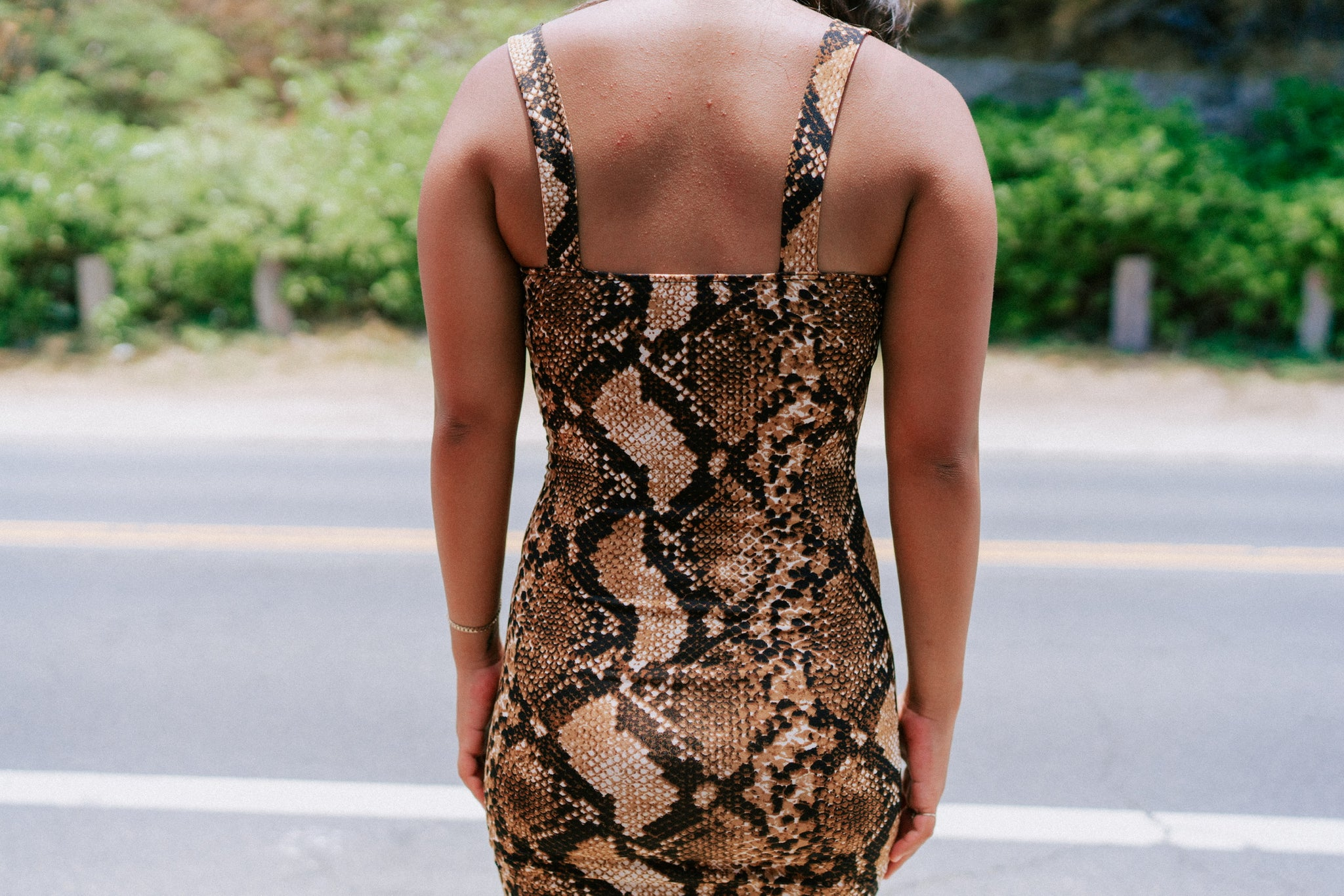 Amine Bodycon - Tan Snake