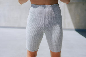 Sabina Ribbed Bike Short - Heather Grey