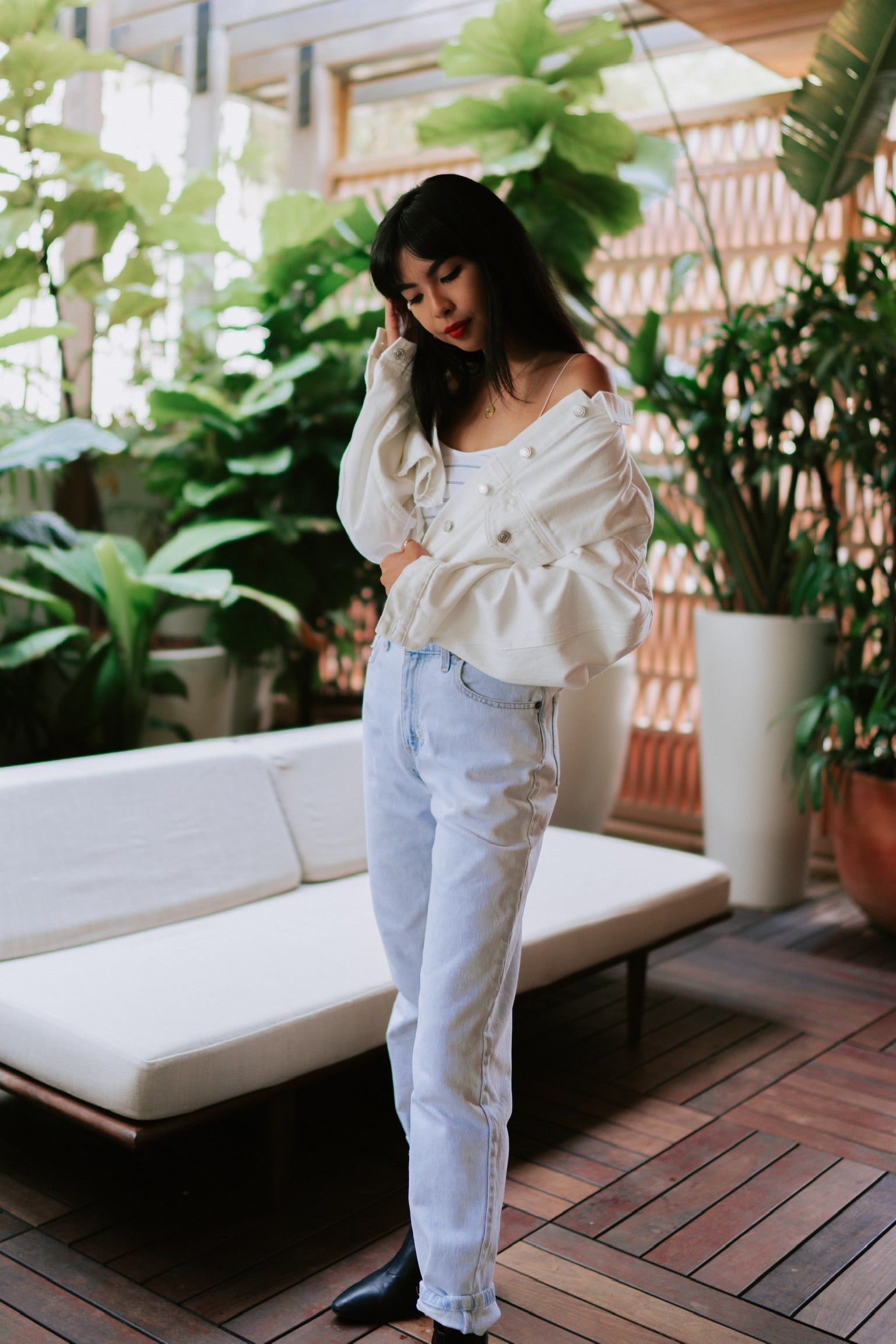 Rowan Cropped Denim Jacket - Ivory