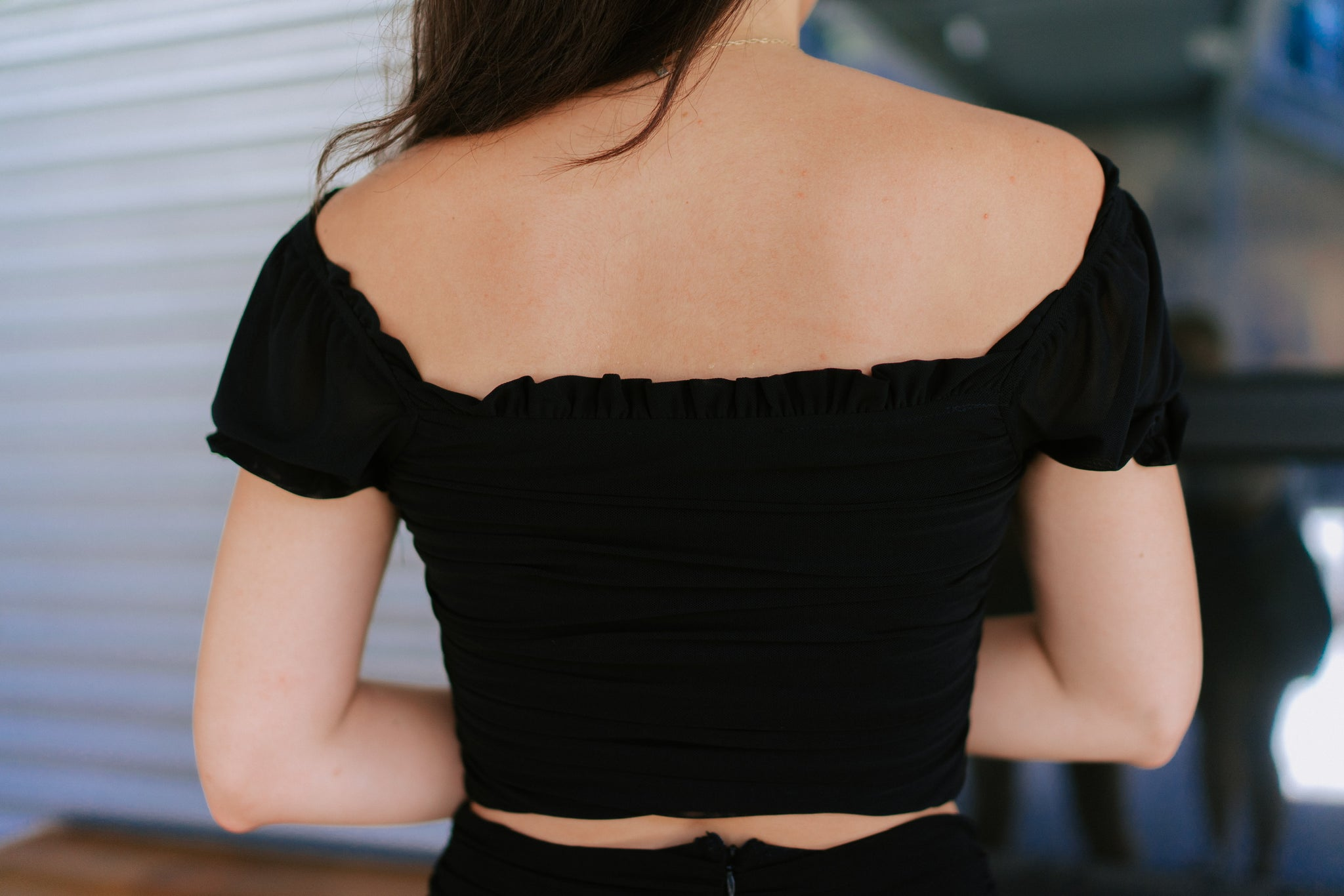 Tatiana Off Shoulder Crop - Black