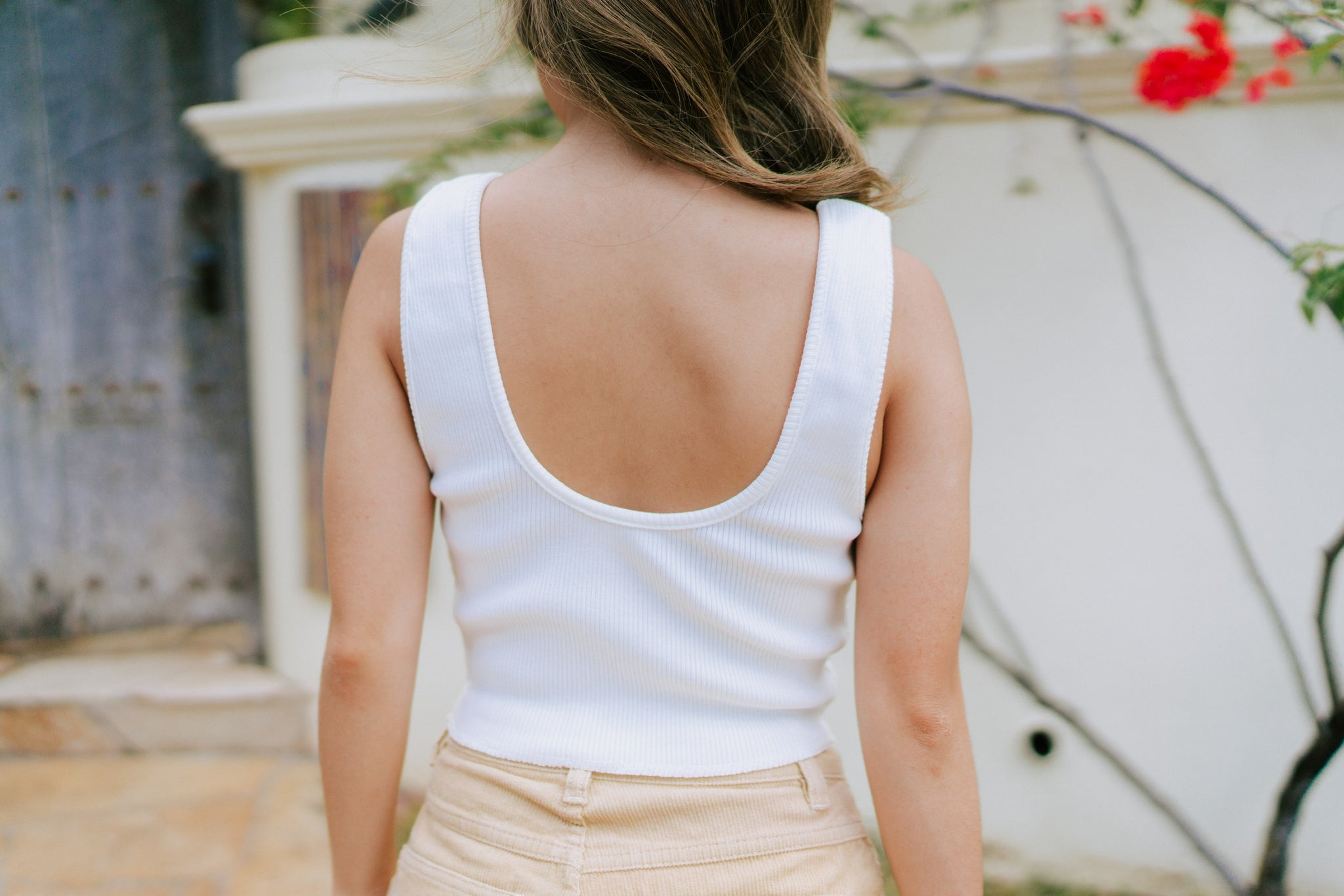 Abbie Basic Crop - White