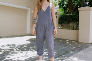 Amelia Jersey Jumpsuit - Heather Grey